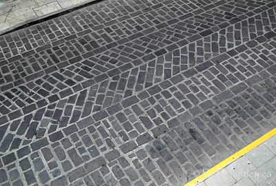 Textured pattern in the stone road surface in Oaxaca, Mexico.