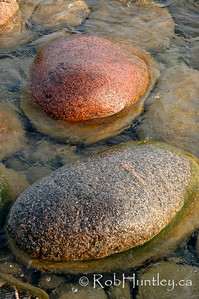 Smooth boulders in a stream.