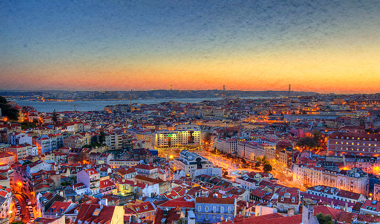 Magic of Lisbon Viewpoint Light Sunset Portugal Fine Art Photography Textures by Messagez.com