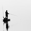 Fishing in a fog bank, Apalachicola Bay,  Saint Marks NWR, FL