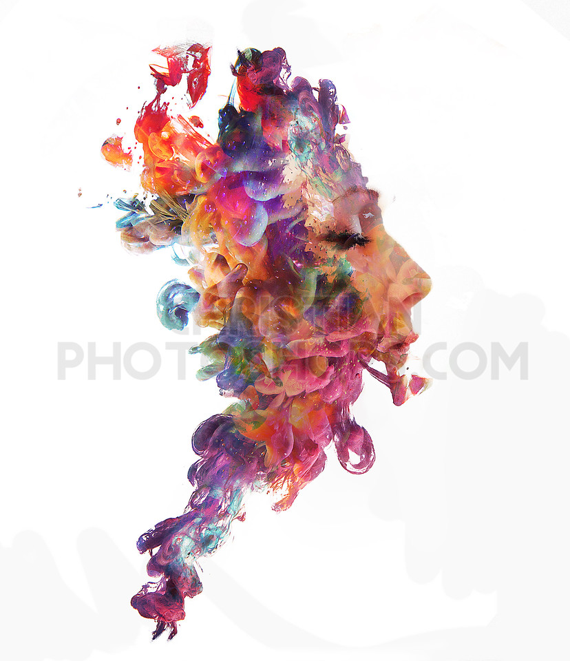 Woman and paint drops