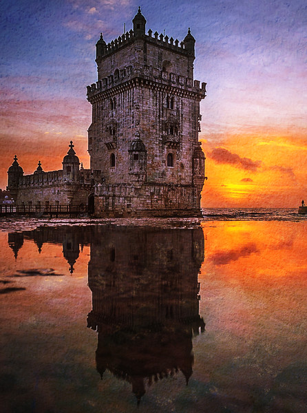 Lisbon Tower Reflection Portugal Fine Art Photography Textures by Messagez.com