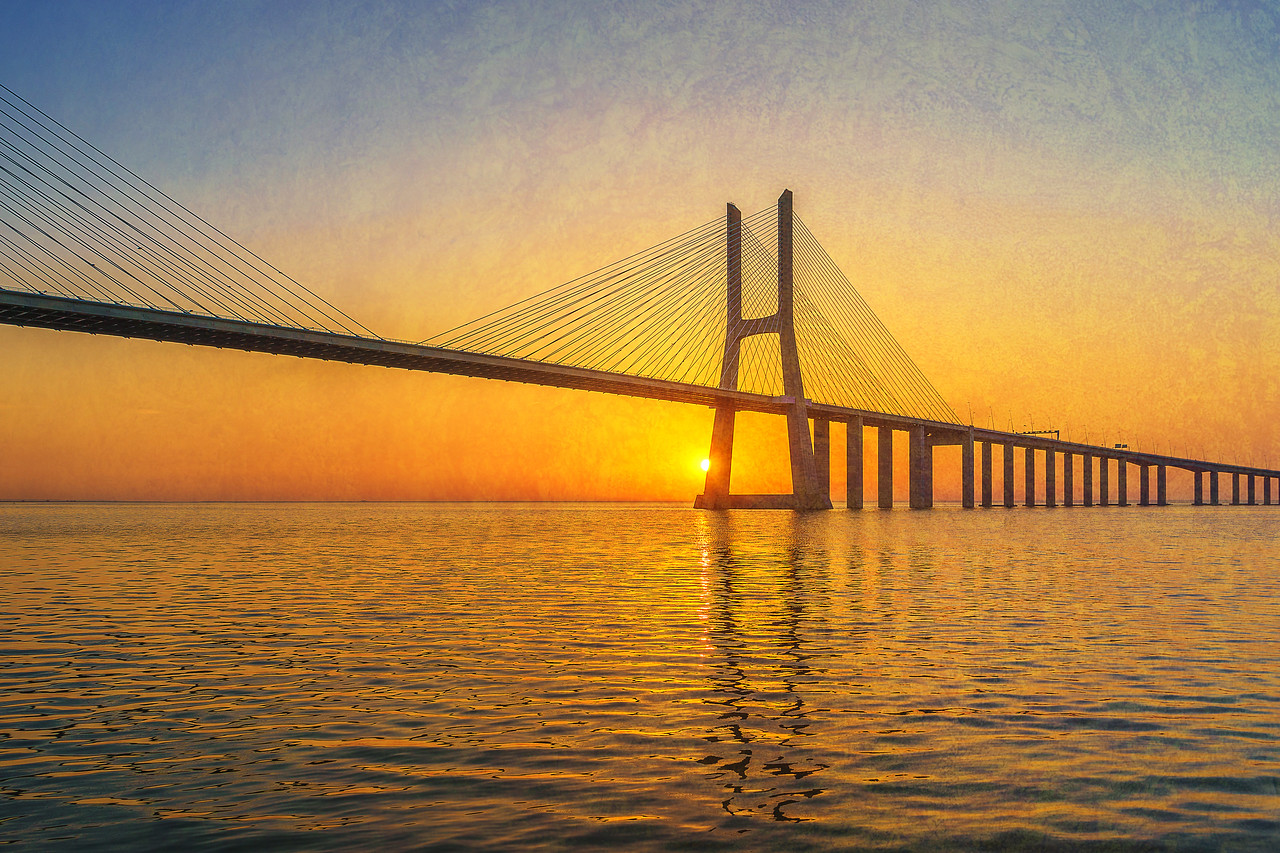 Lisbon Bridge Sunrise Portugal Fine Art Photography Textures by Messagez.com