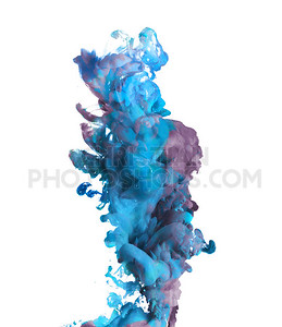 Blue and purple paint dropped in water