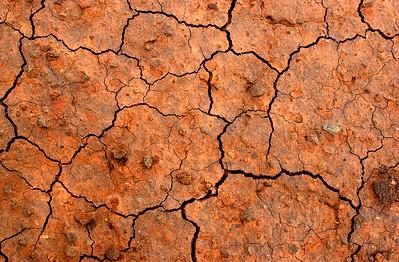 The dry, weathered soil of Molokai, Hawaii