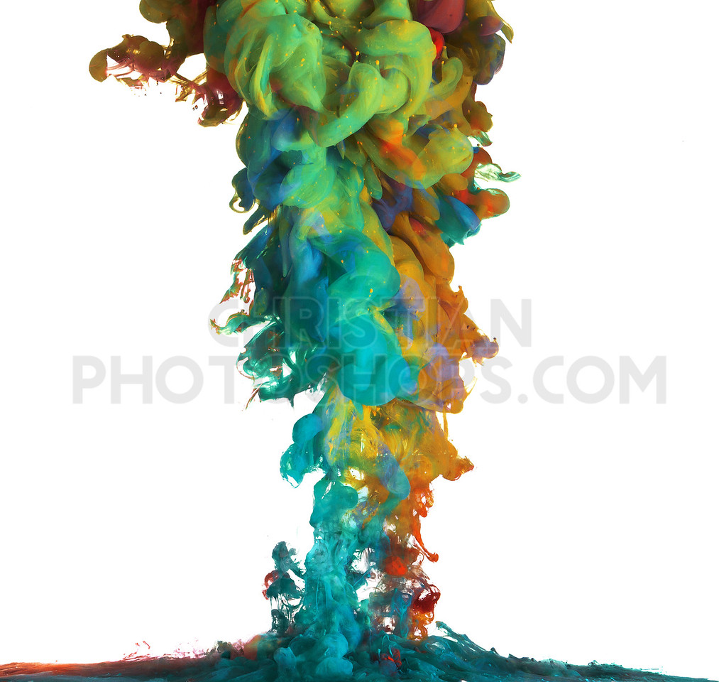 Colorful paints mix under the water