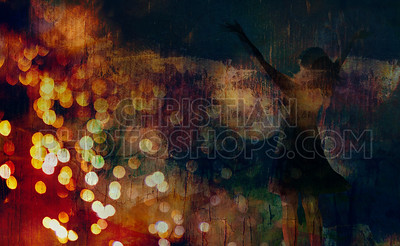 Woman praising on abstract background
