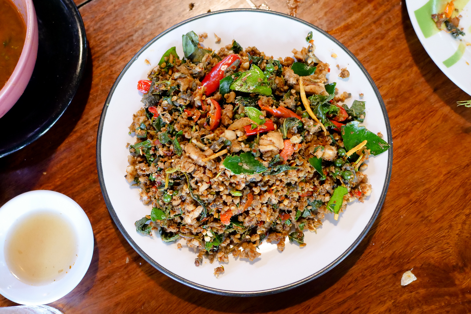 Pad Pet herb mixture fried with minced frog meat