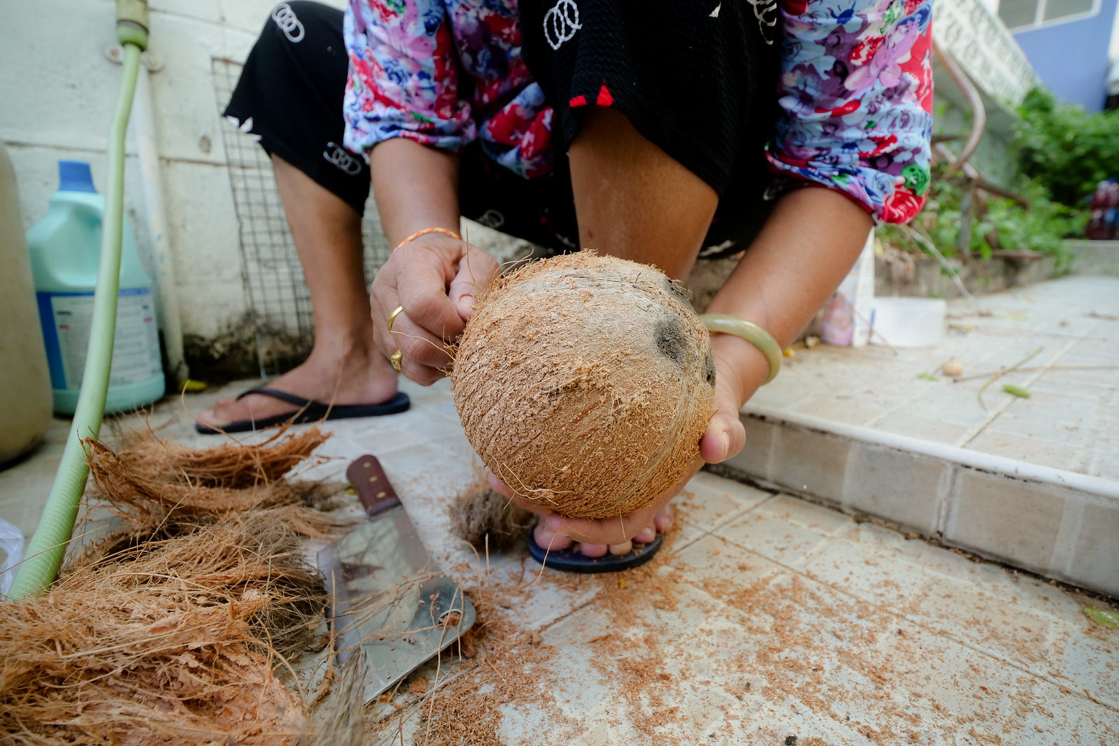 Cleaning the fibrous hairs off the outside of your mature coconut