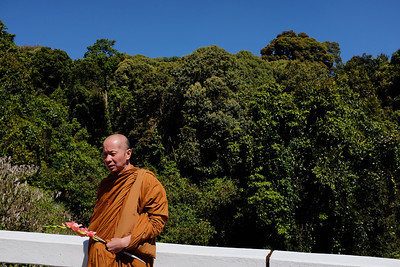 Monk on way to make offering, King's Pagoda, Doi Inthanon, Thailand.