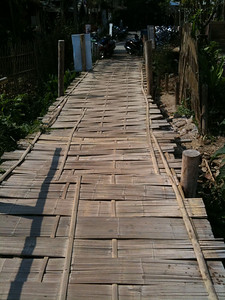 Pai river bamboo bridge