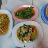 Entrees at the 1 baht khao tom rice restaurant
