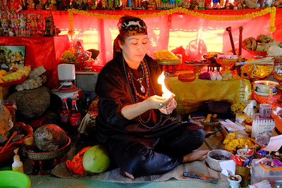 Nid demonstrating flames in hand, Ban Pong, Thailand