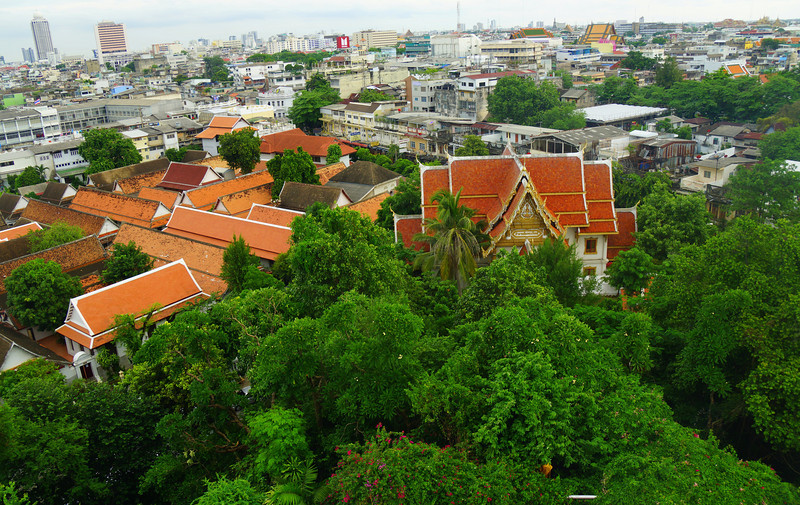 Today's feature travel photo from Asia is shot of the panoramic views I had of Bangkok from high atop the Golden Mount Temple Wat Saket in Bangkok, Thailand.