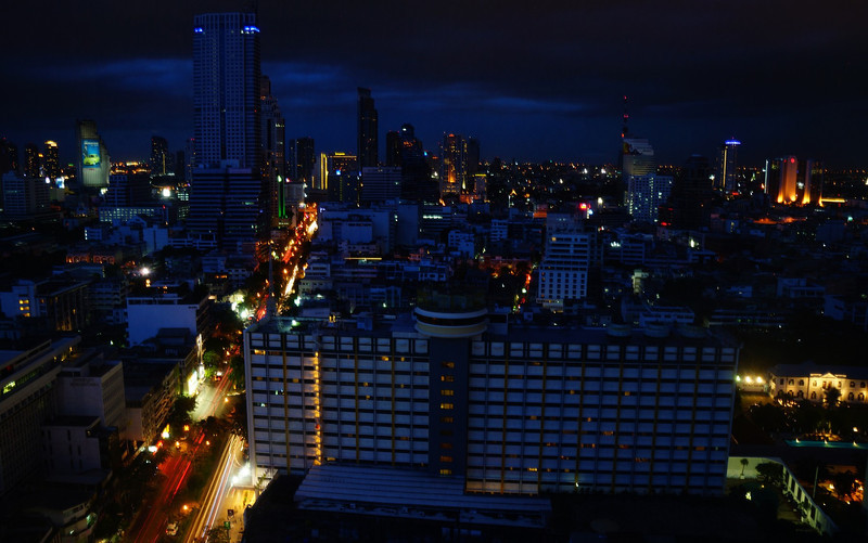 The feature photo of the day is of the ever sprawling Bangkok, Thailand at night shortly after sunset on a cloudy evening just before a thunderstorm.