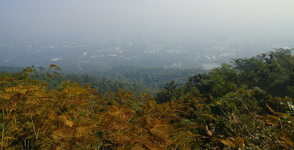 Hazy views of Chiang Mai from Doi Suthep