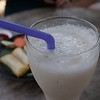 A delicious and frothy coconut shake that we had for lunch at Pun Pun restaurant in Chiang Mai, Thailand.