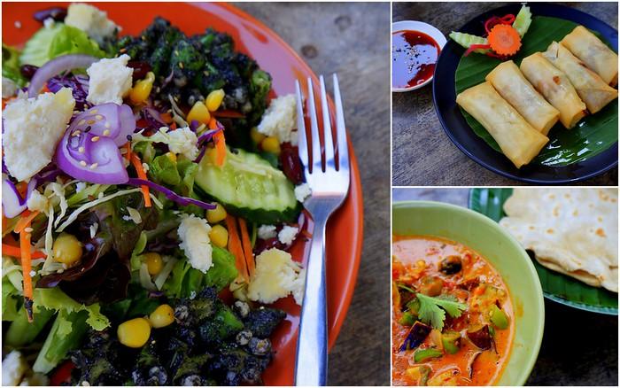 Vegetarian lunch at Pun Pun Restaurant in Chiang Mai, Thailand.
