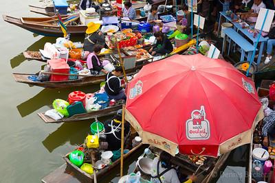 Food vendors at floating market in Amphawa