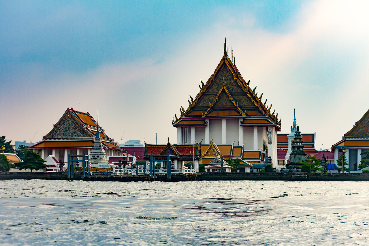 Temple on the waterway; Bangkok