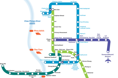 Bangkok BTS And MRT Map, image copyright Travel Gaoot