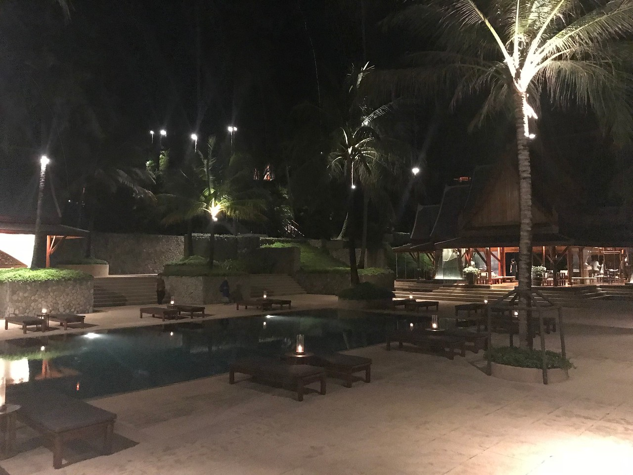 Amanpuri Pool 1 at night