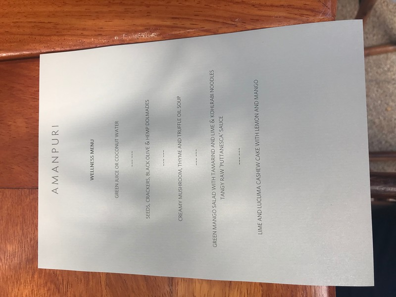 Healthy lunch menu as part of the wellness Immersion program