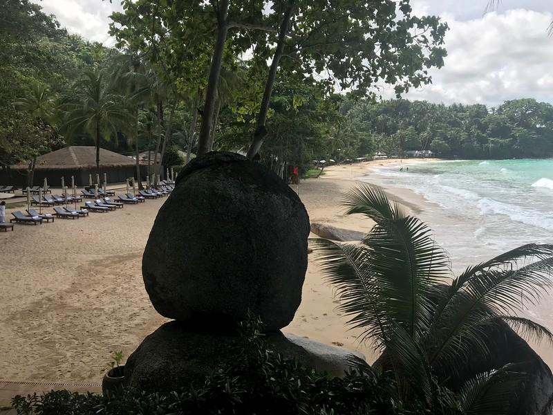 The main beach at Amanpuri  at low tide