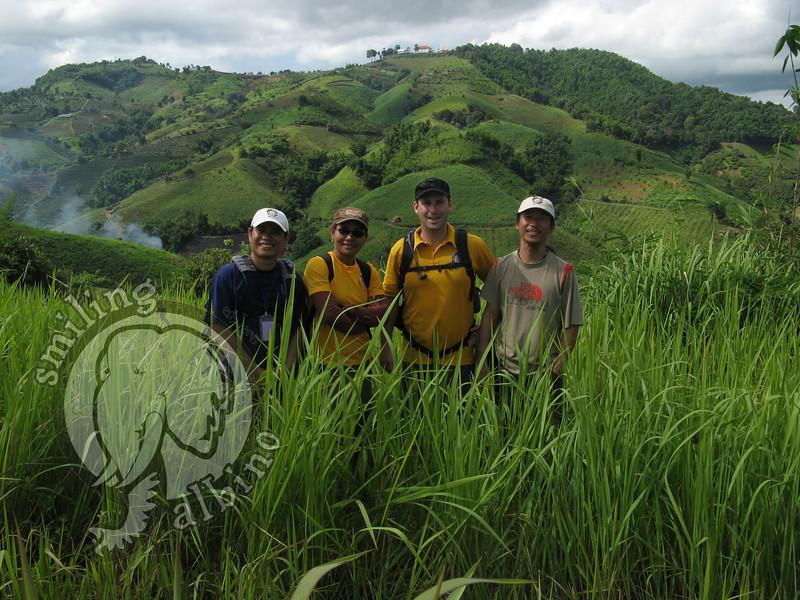 SA Team members: Kai, Nee, Scott & Sa-ngiam hiking in Doi Mae Salong.