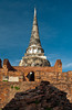 The ruins of the temple Wat Phra Si Sanphet and its chedis in Ayutthaya, Thailand.