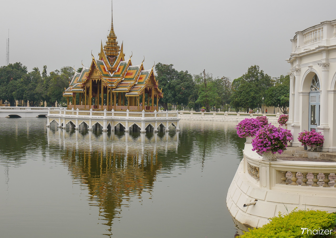 floating Thai pavilion at Bang Pa In Palace, Ayutthaya