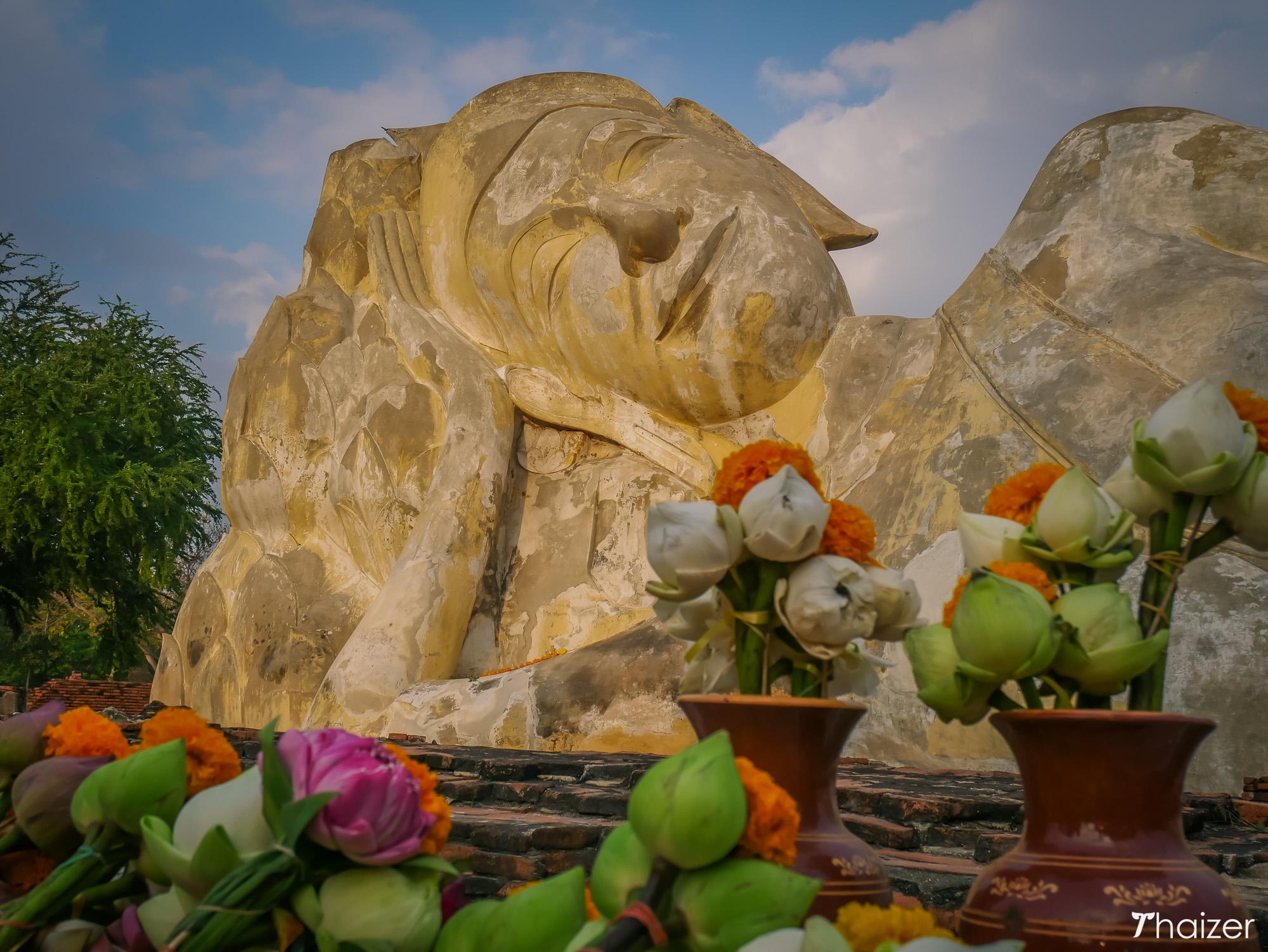Reclining Buddha statue at Wat Lokayasutharam, Ayutthaya