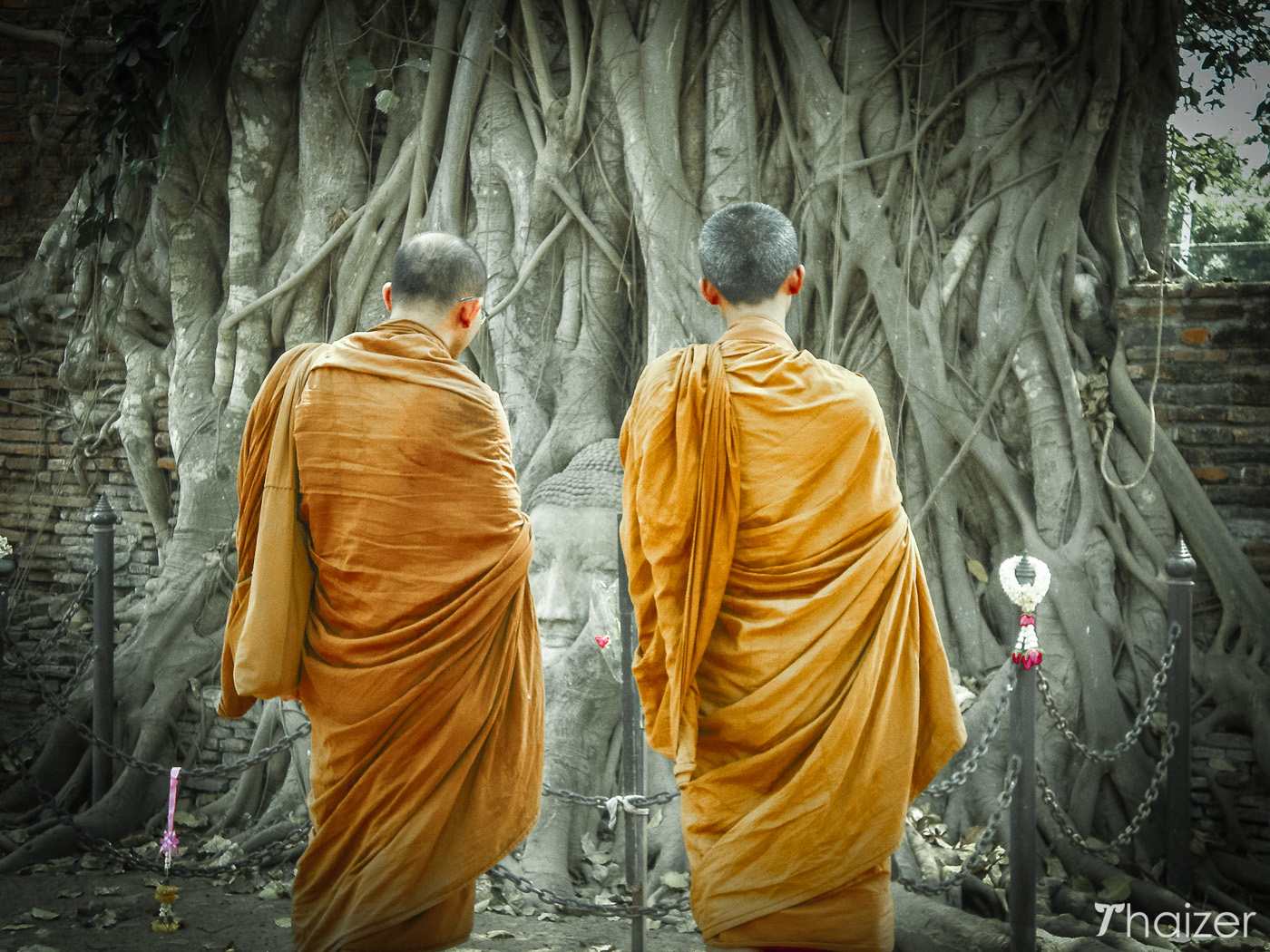 Buddhist monks at Wat Mahathat, Ayutthaya