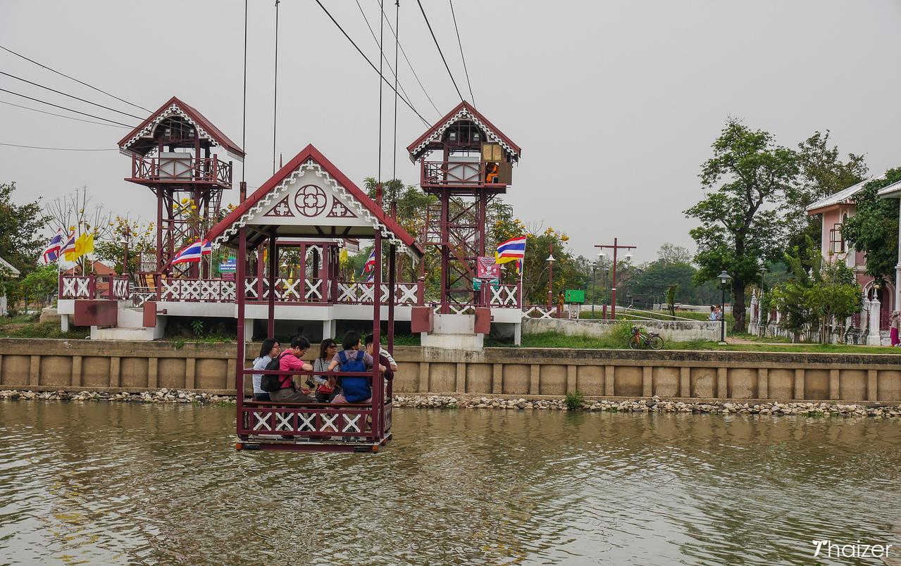 taking the cable car across the Chao Phraya River at Wat Niwet Thamprawat, Ayutthaya