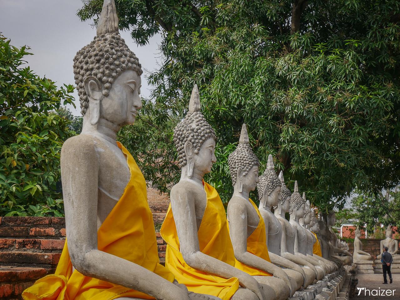 stone Buddhas at Wat Yai Chai Mongkhon, Ayutthaya /