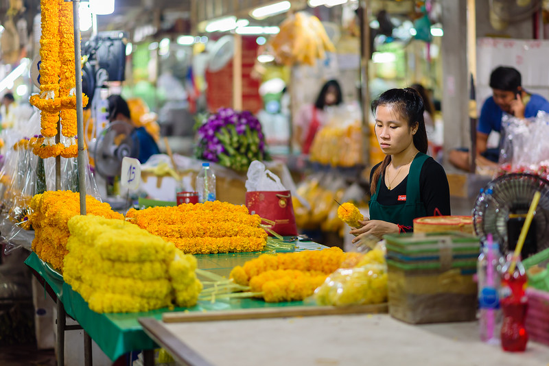 Making the Offerings in the Flower Market