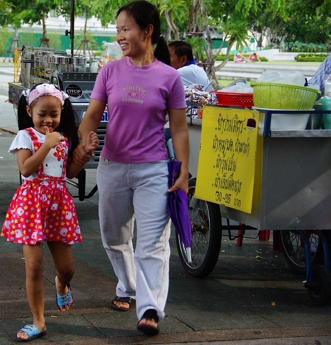 Two locals (Thai lady and daughter) walking in Bangkok, Thailand