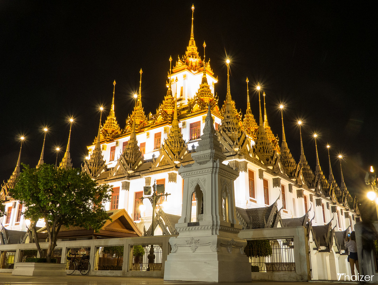 Loha Prasat in Bangkok illuminated at night