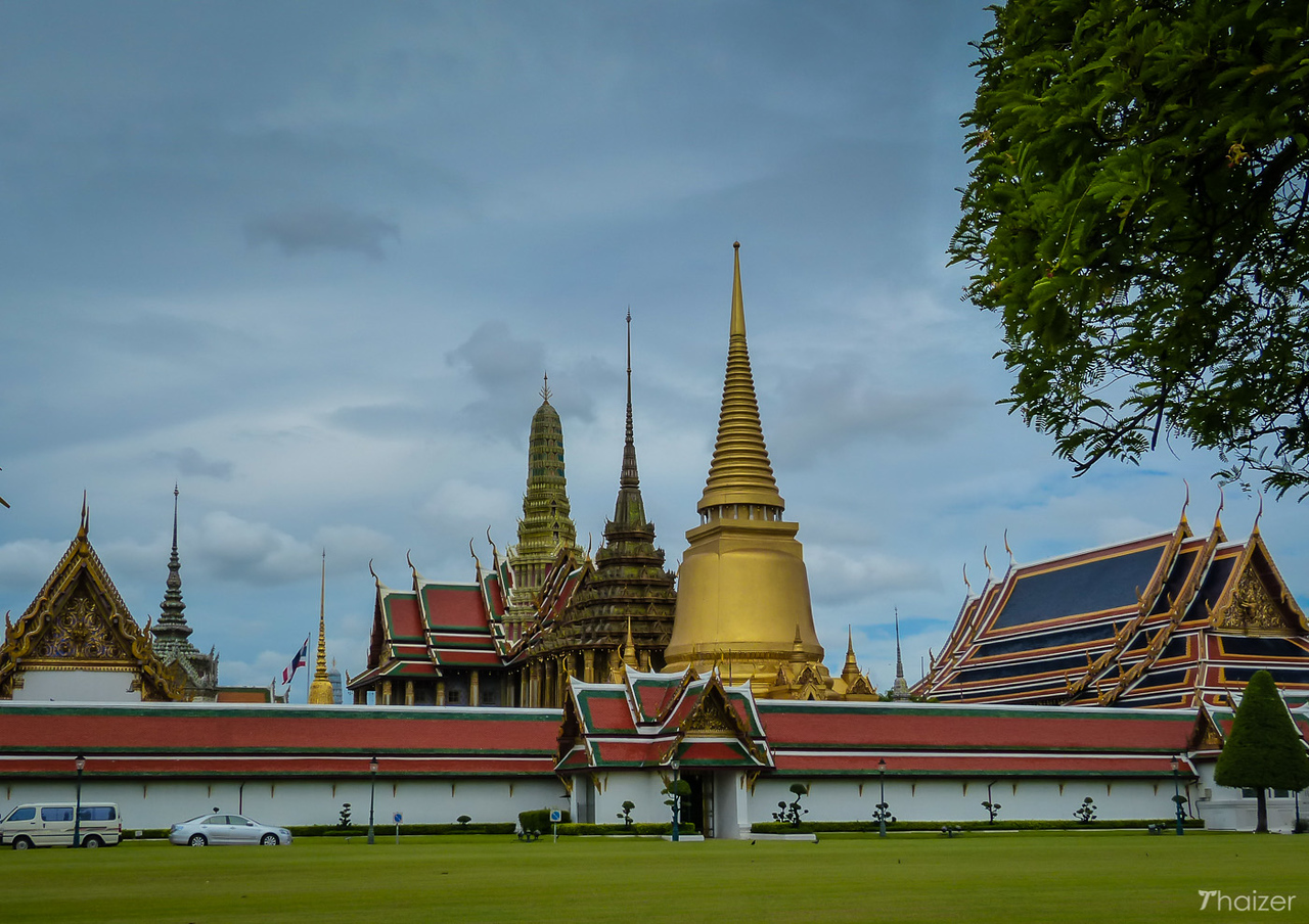 wide view of walls and spires at the Grand Palace, Bangkok
