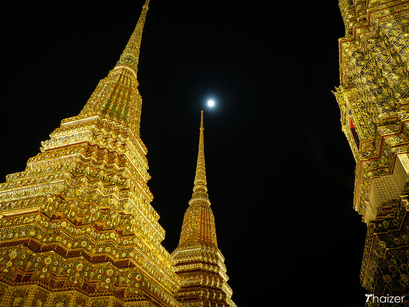 full moon over Wat Pho, Bangkok