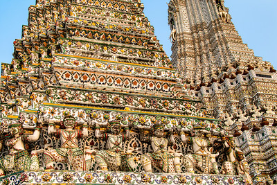 thailand; bangkok; architecture; temples; temple of the dawn; wat arun; art; statues; demon spirits;