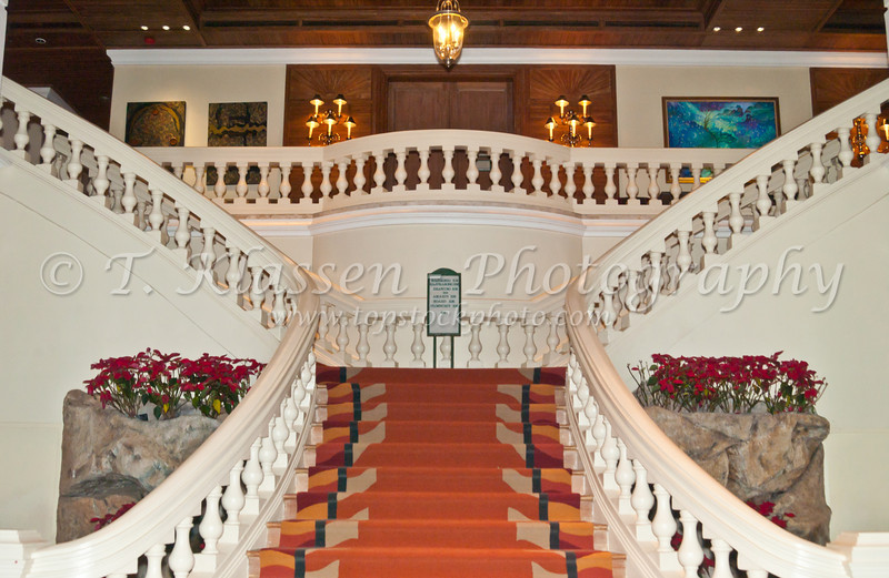 The grand staircase at the Grand Hyatt Erawan Hotel in Bangkok, Thailand, Asia.