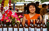 A wine bottle display at a local ine festival, featuring Thai wines in Bangkok, Thailand.
