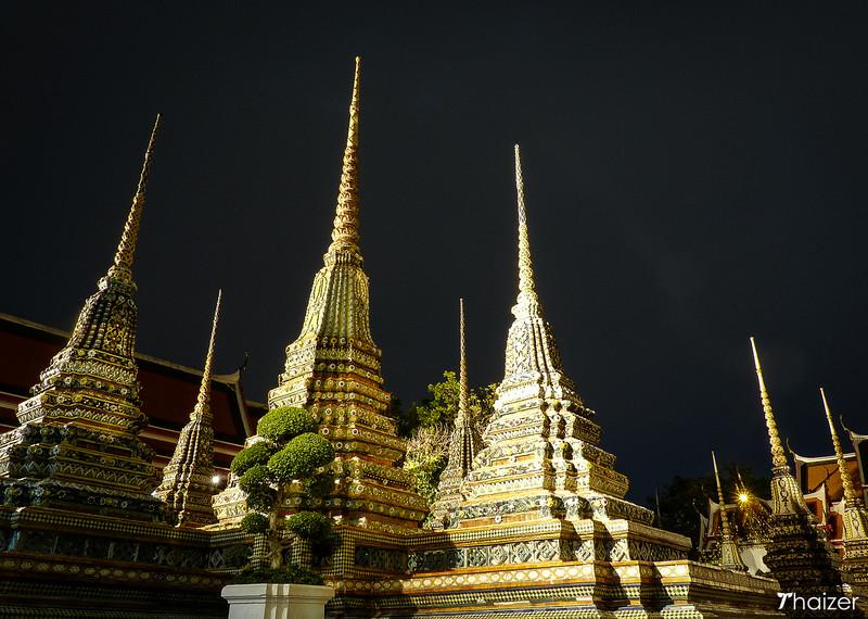 chedis and stupas at Wat Pho at night, Bangkok