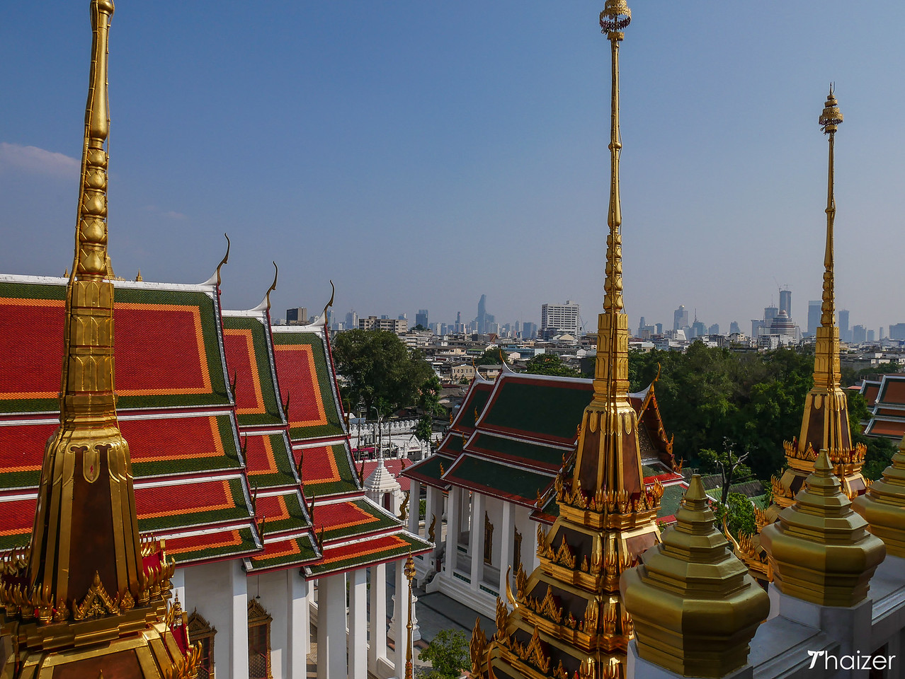 view of Bangkok and Wat Ratchanatdaram from top of Loha Prasat