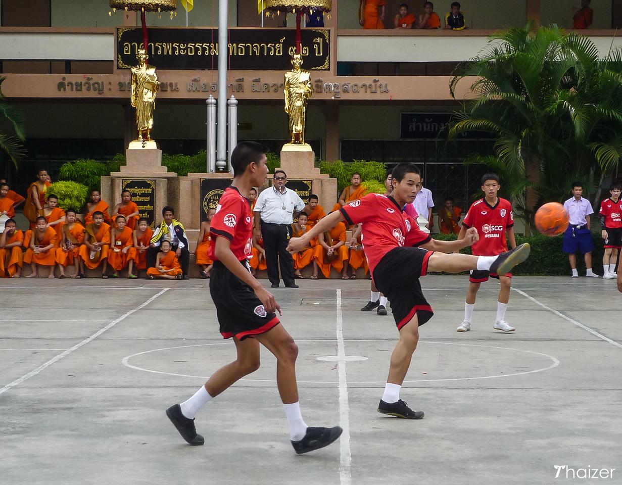 playing football at Wat Phra Singh, Chiang Mai