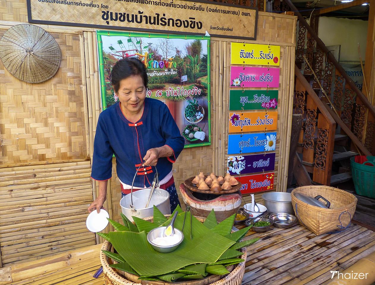 preparing local food at Ban Rai Kong Khing