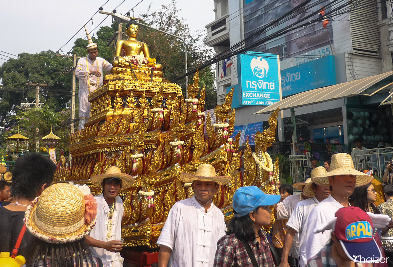 Phra Singh image on a chariot during Songkran in Chiang Mai