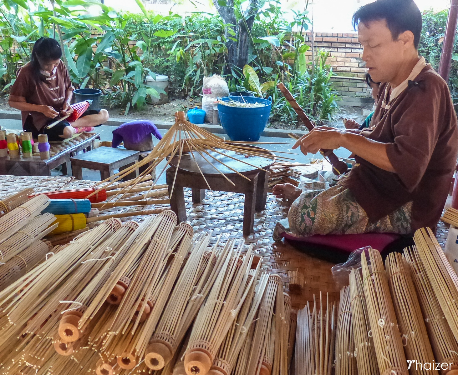 making the bamboo frames for the umbrellas