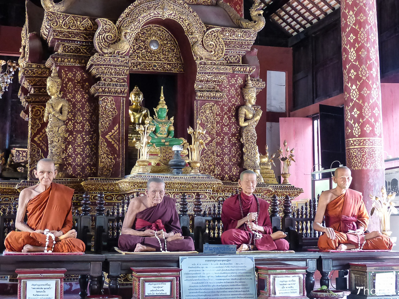 waxwork monks and copy of the Emerald Buddha at Wat Phra Singh, Chiang Mai